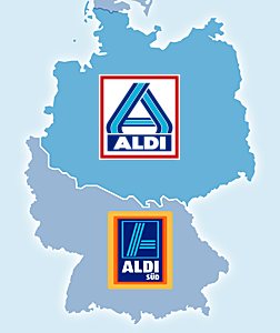Map of Aldi North and Aldi South Territories