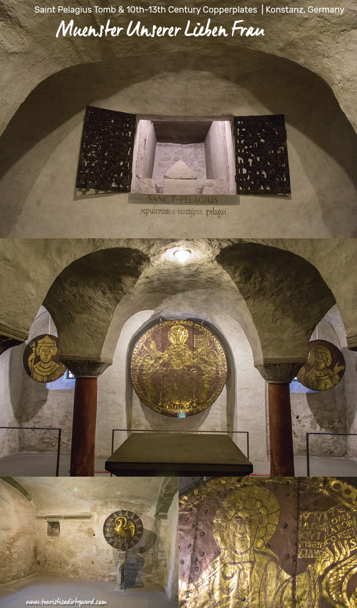 Copperplates from 10-13th Century and Saint Pelagius Tomb in the Crypt of Muenster Unserer Lieben Frau | Cathedral of Our Dear Lady, Konstanz, Germany