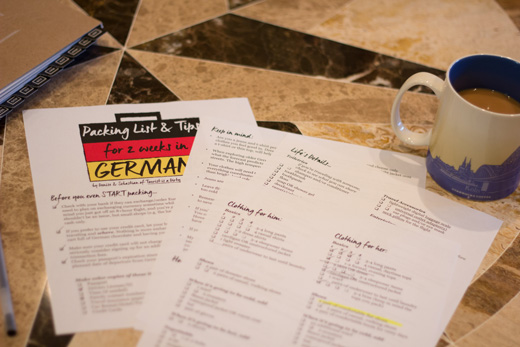 Free, four-page, printable packing list for 2 weeks in Germany