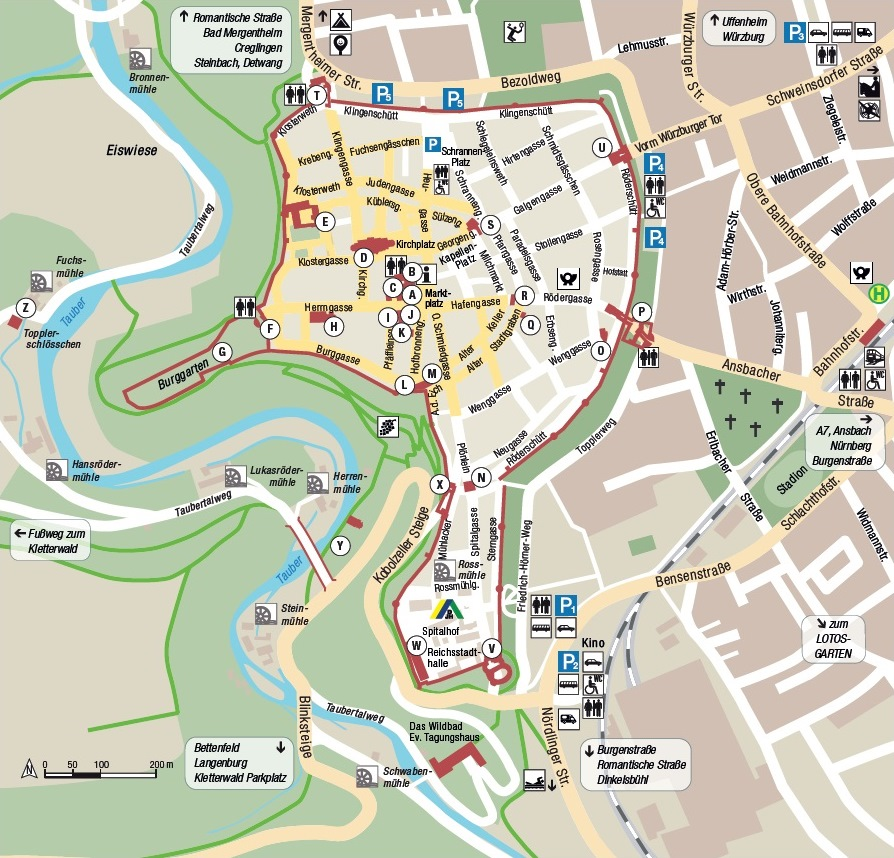 Rothenburg City Map, click for link to full PDF guide from the city's tourist office