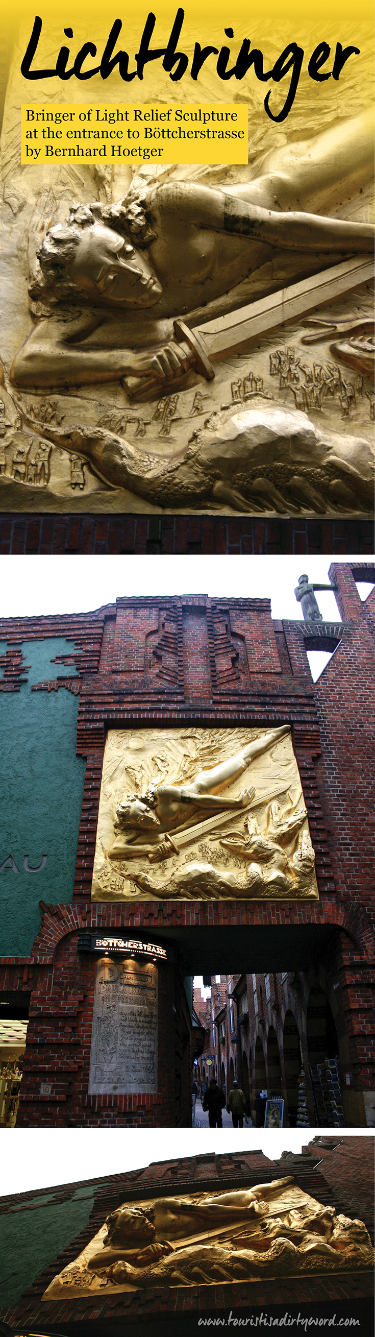 Beginning Your Stroll Through Böttcherstrasse at the Entrance with the Light Bringer Relief Sculpture • Bremen, Germany