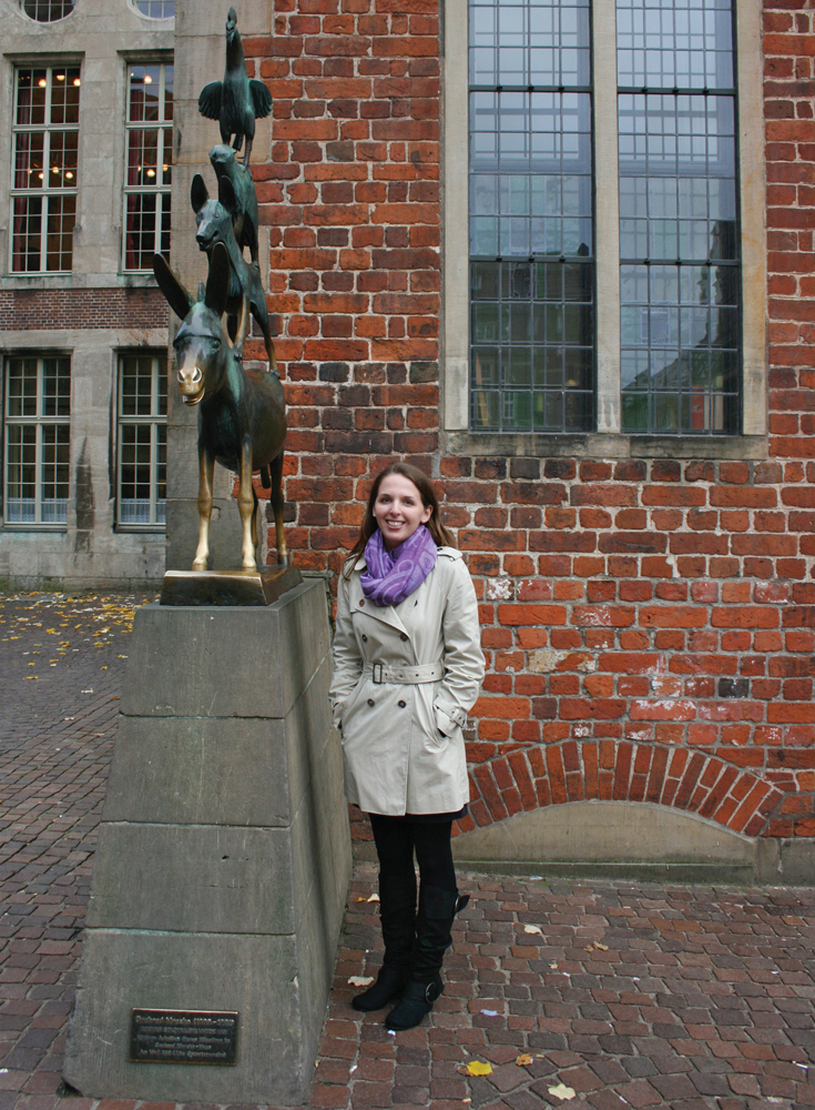 Denise was so happy to stand beside Gerhard Marcks' famous Bremen Town Musicians Statue