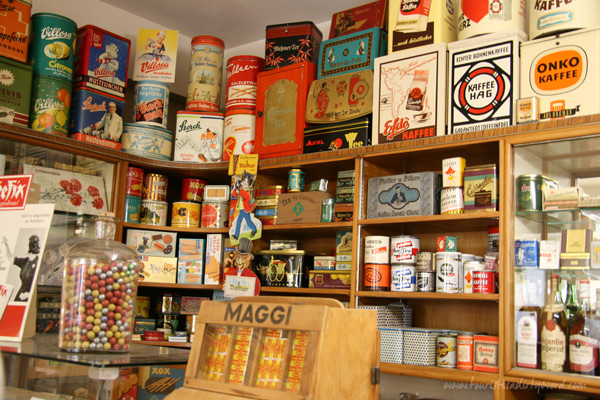 Stocked grocery shelves in the Museum of the 50's, Büdingen, Germany