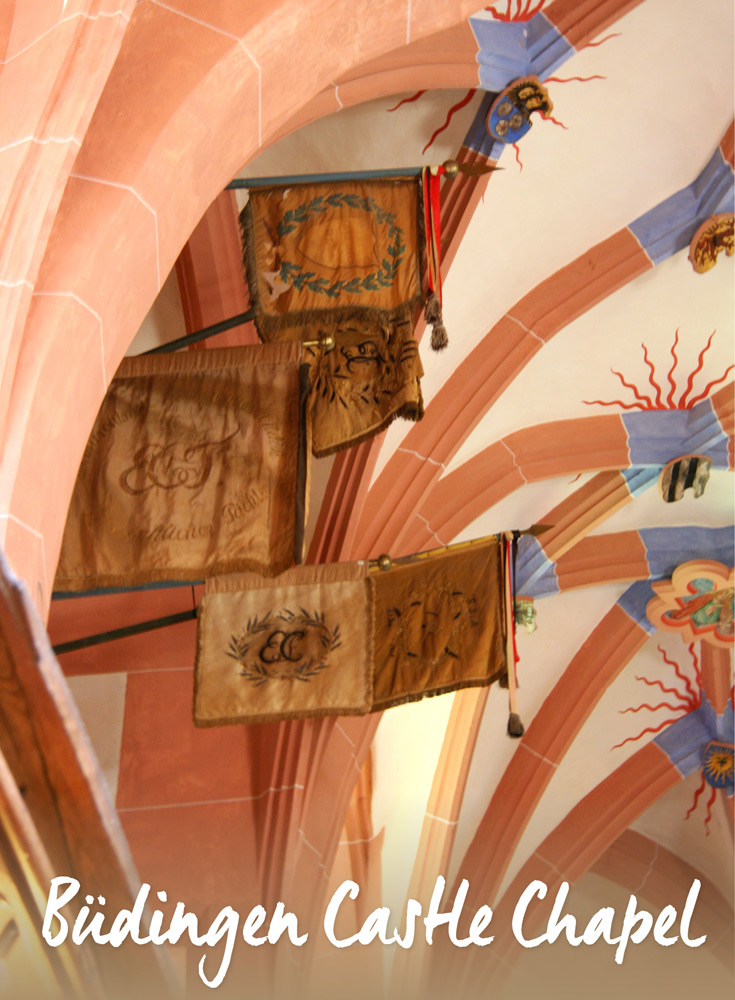 Buedingen Castle Chapel Wedding Flags Hang in the Arched Ceiling