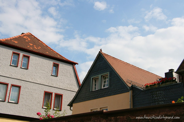 Look up in Buedingen! Adorable roof ornaments seem to be trendy there. Here's a gallant horse roof ornament!