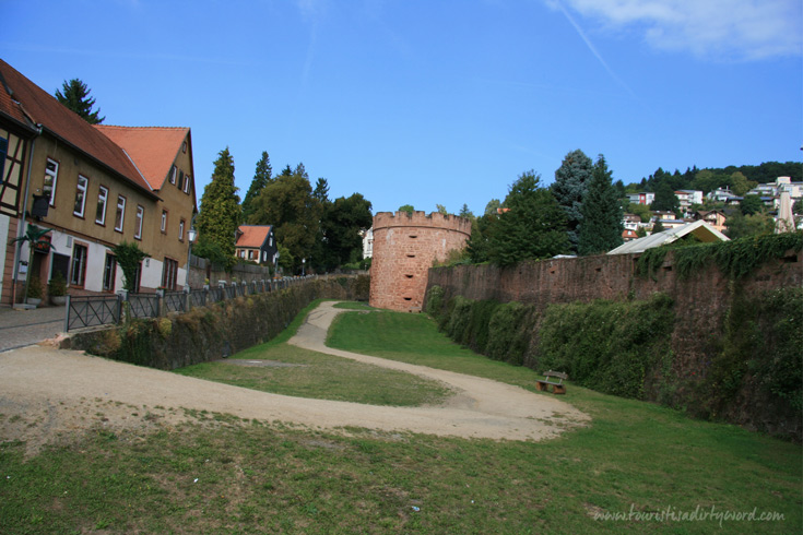 View of the medieval town wall and moat in Buedingen