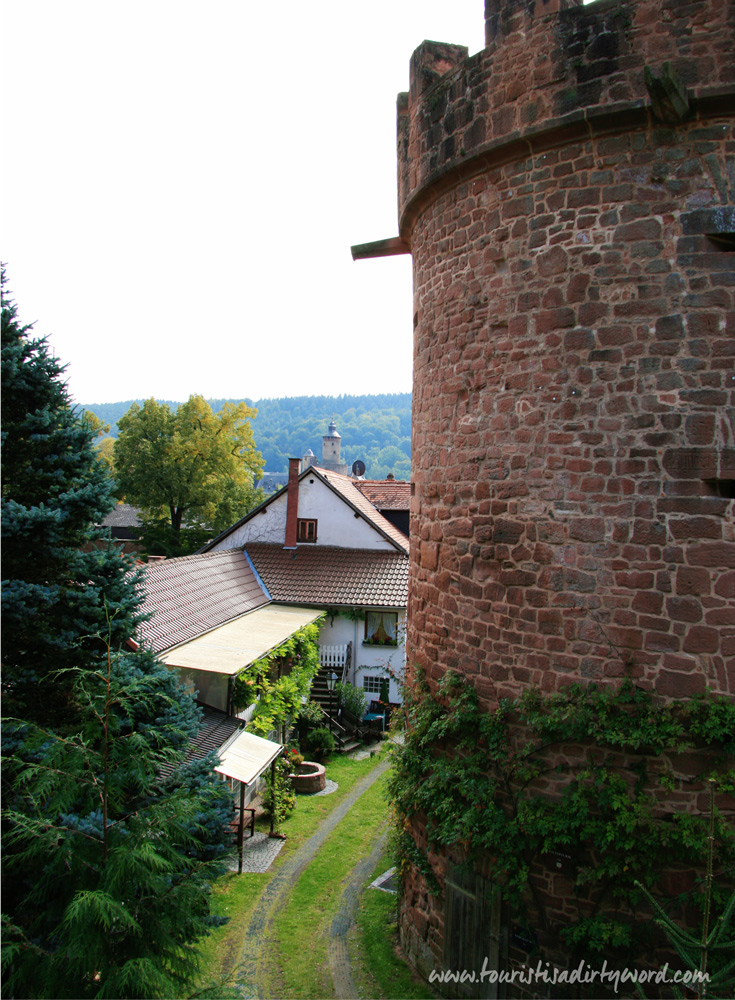 View of the medieval town wall in Büdingen, Germany