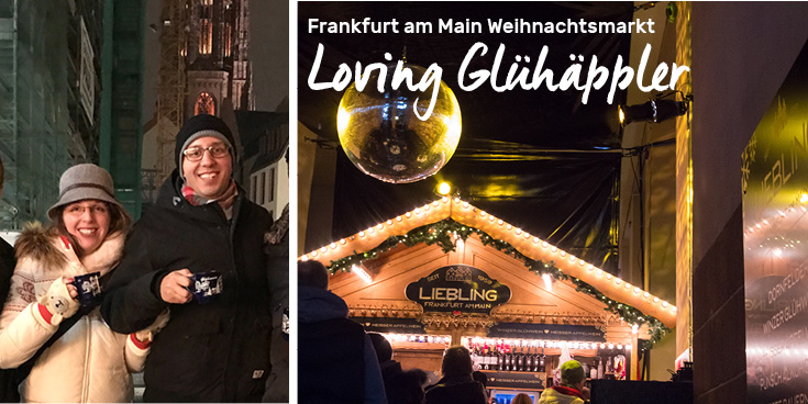 Enjoying Glühäppler during Frankfurt am Main Weihnachtsmarkt