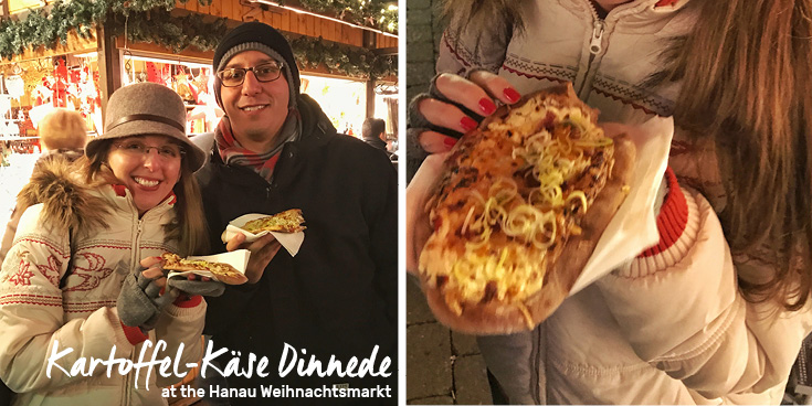 Trying Kartoffel-Käse Dinnede at the Hanau Weihnachtsmarkt