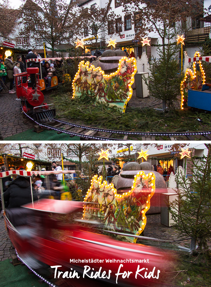 There's a vintage kids train at the Michelstädter Weihnachtsmarkt