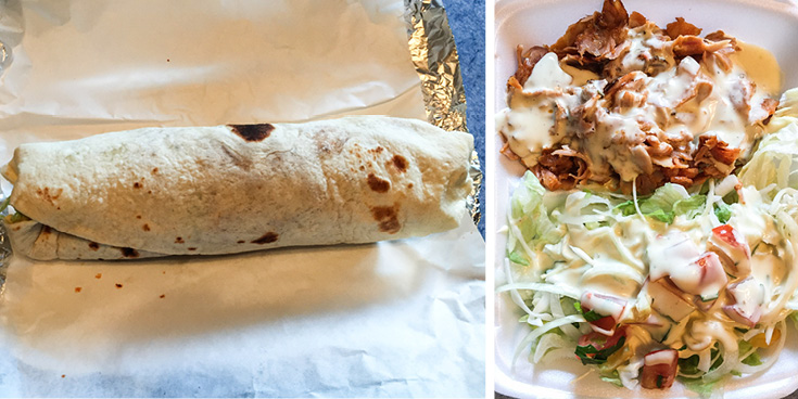 Different ways to eat döner, hand held in a pita bread, or open-faced without pita bread.