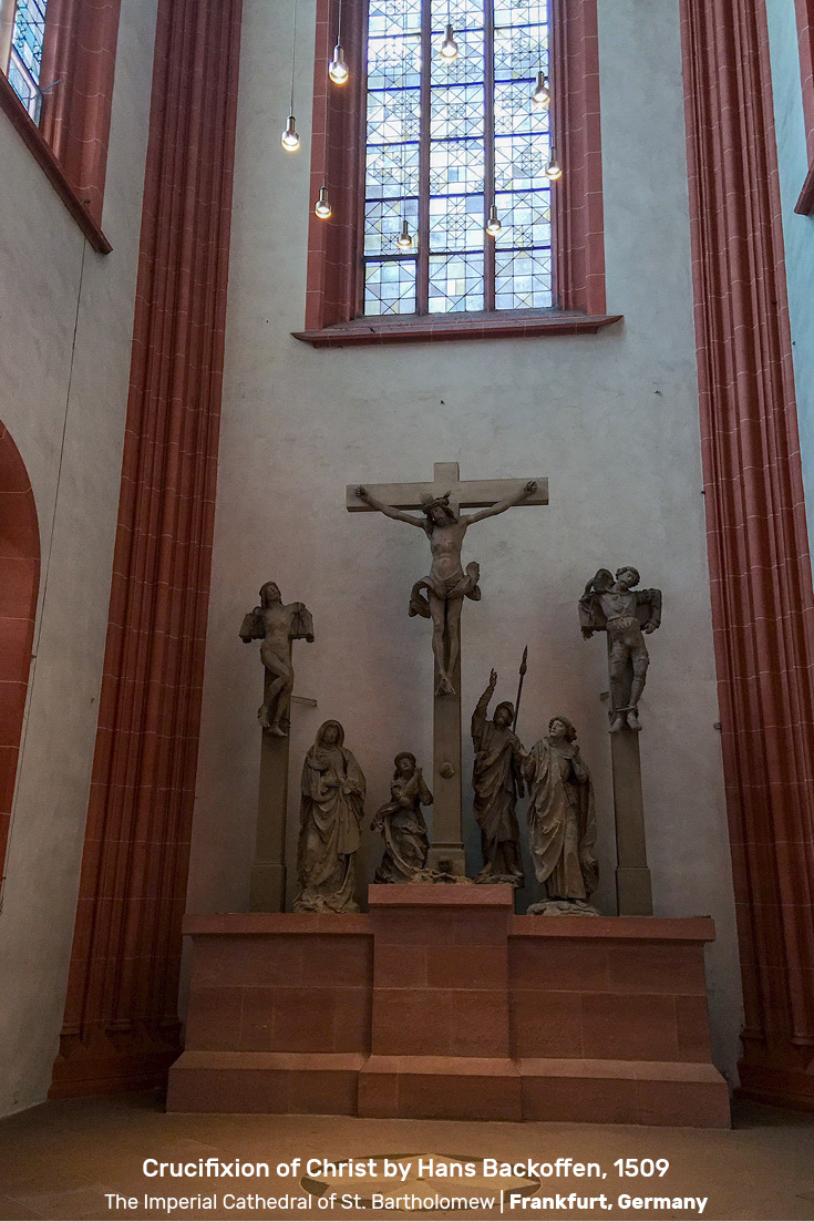 Crucifixion of Christ by Hans Backoffen, 1509, in the belfry chapel of the Imperial Cathedral of St. Bartholomew, Frankfurt am Main Germany.