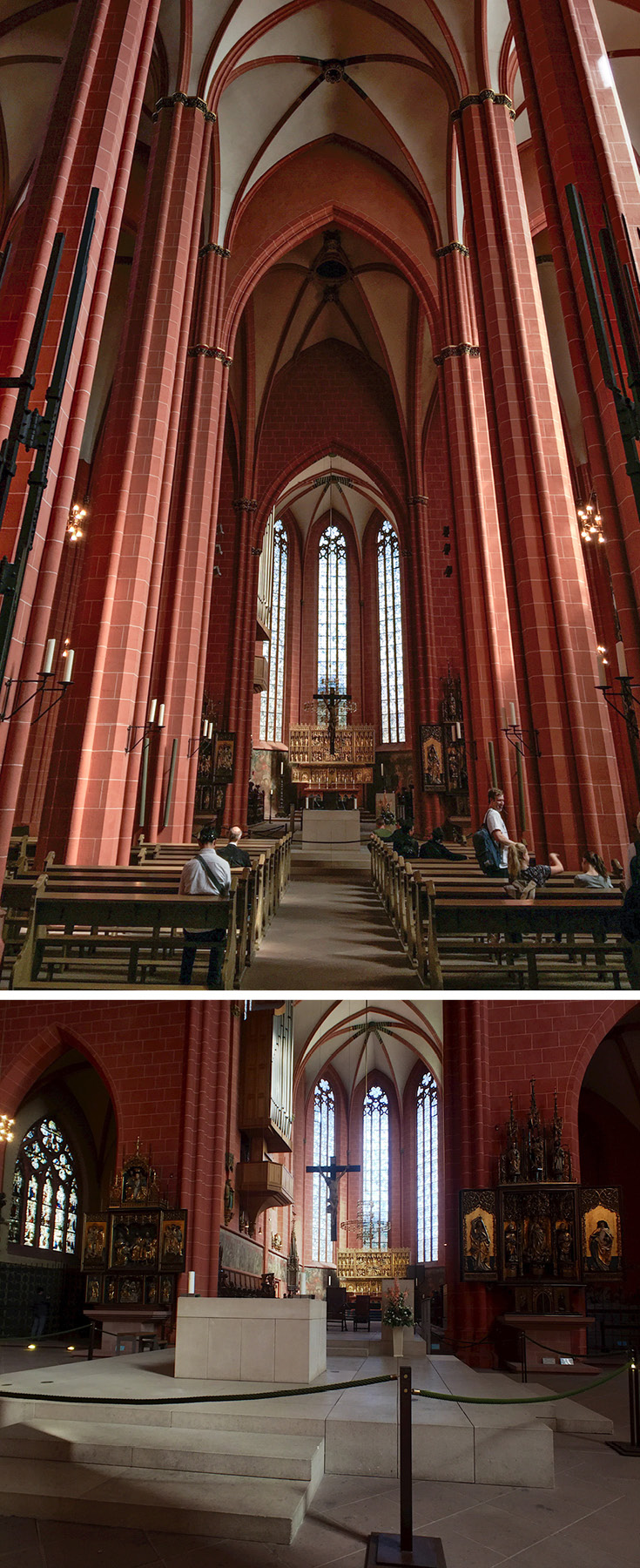 The red sandstone interior of St. Bartholomew's Imperial Cathedral in Frankfurt am Main, Germany