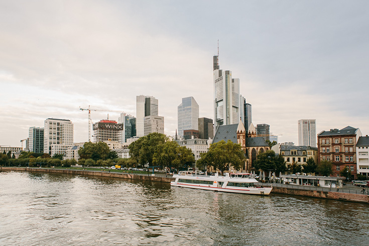 The Eiserner Steg bridge is pedestrian only and offers this perfect view of the Frankfurt 'Mainhatten' skyline
