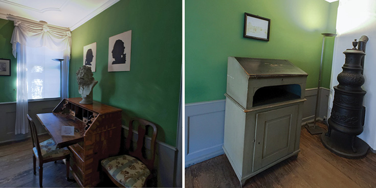 Poet's Room with the original standing desk. Here is where Goethe wrote his early works | Goethe House Frankfurt