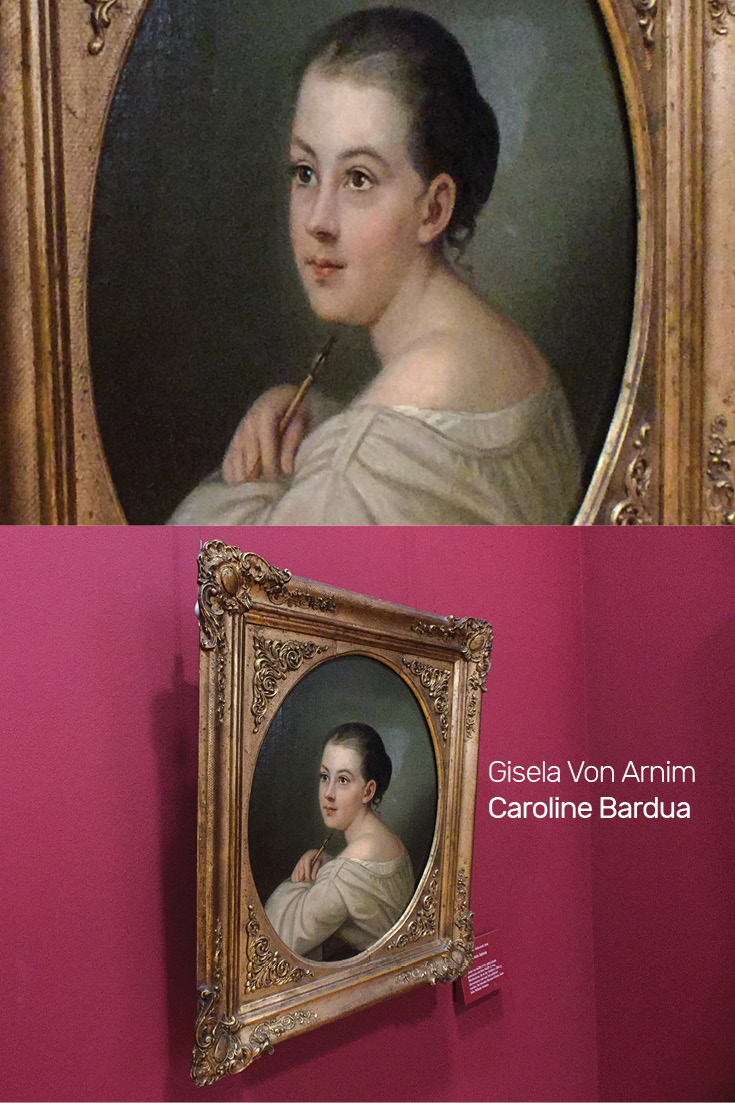 Portrait painting of Gisela Von Arnim by German Painter Caroline Bardua at the Frankfurt Goethe Museum