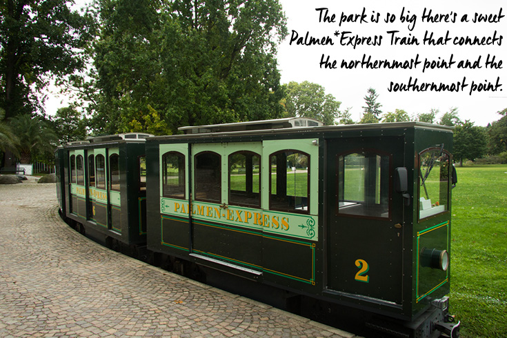 The Palmengarten Park is so big there's a sweet Palmen Express Train that connects the northernmost point and the southernmost point.