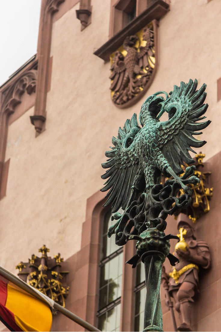 The Frankfurt eagle symbol is used frequently on the facade of the Roemer in Frankfurt am Main, Germany