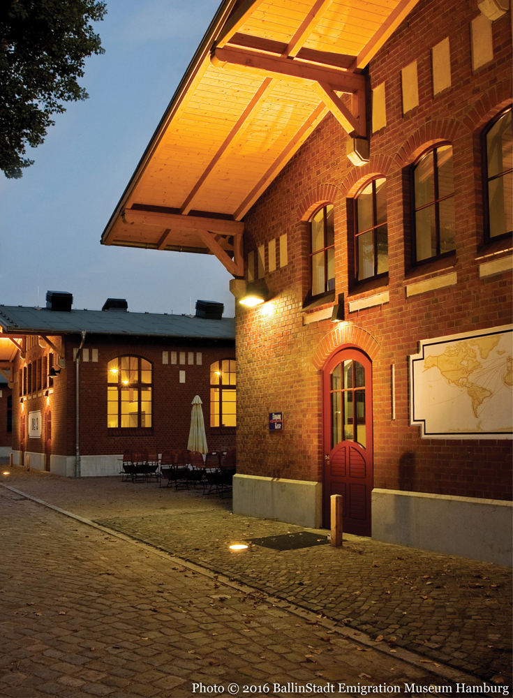 Exterior of the recreated emigration dormitory at Ballinstadt Emigration Museum Hamburg