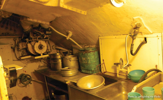 Photo of U-434 Kitchen by Flickr user Flightlog • Experience visiting the U-434 Submarine in Hamburg Germany