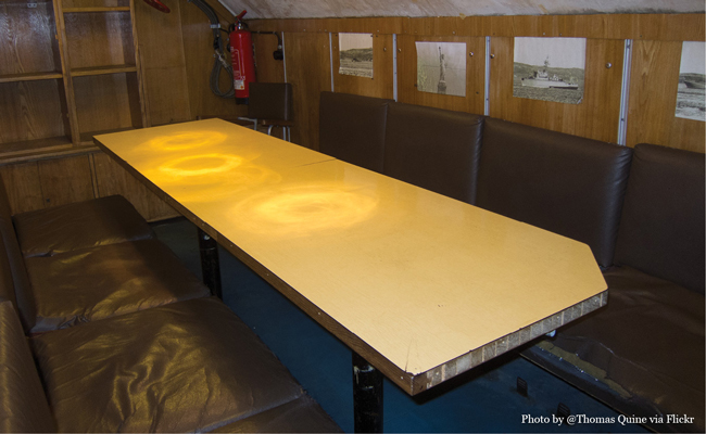 U434 Sub Dining room table, doubles as an operating table, image by flickr user Thomas Quine • Experience visiting the U-434 Submarine in Hamburg Germany