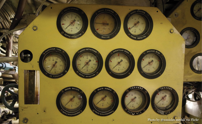U-434 Gauges photo by Flickr user tomislav medak • Experience visiting the U-434 Submarine in Hamburg Germany