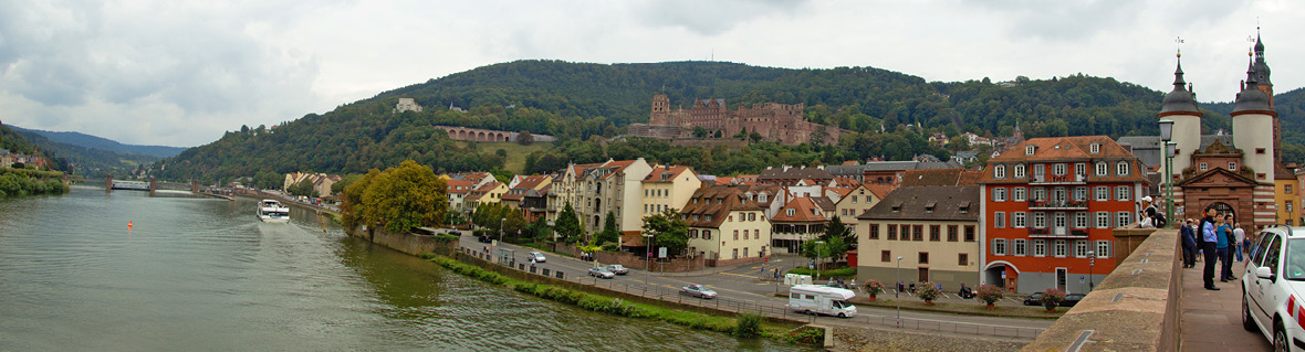 Panorama view of the Heidelberg castle from the Old Bridge