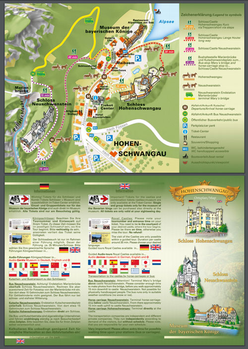 Overview map of the Neuschwanstein Castle Walking Time Estimates and Bus/Carriage Pickup spots