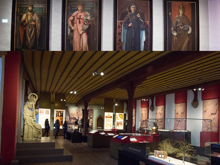 The Dining Hall now has modern exhibits explaining the Holy Roman Empire in the Imperial Castle of Nuremberg, Germany