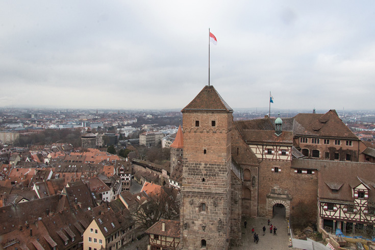 View of the Heathen Tower and Inner Court of the Imperial Castle of Nuremberg, Germany