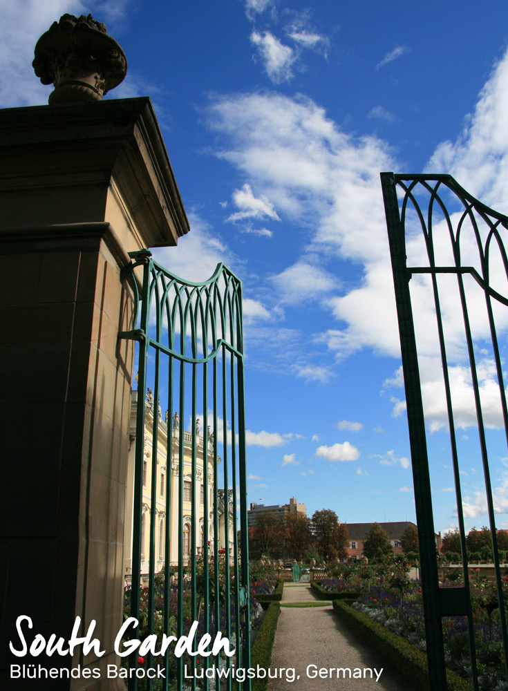 Gate leading to the rose gardens in Blühendes Barock, Ludwigsburg, Germany