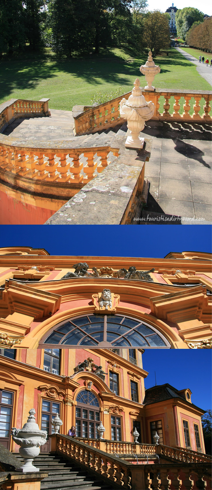 Exterior views of the Southern Facade of Ludwigsburg's Schloss Favorite | Baroque Architecture