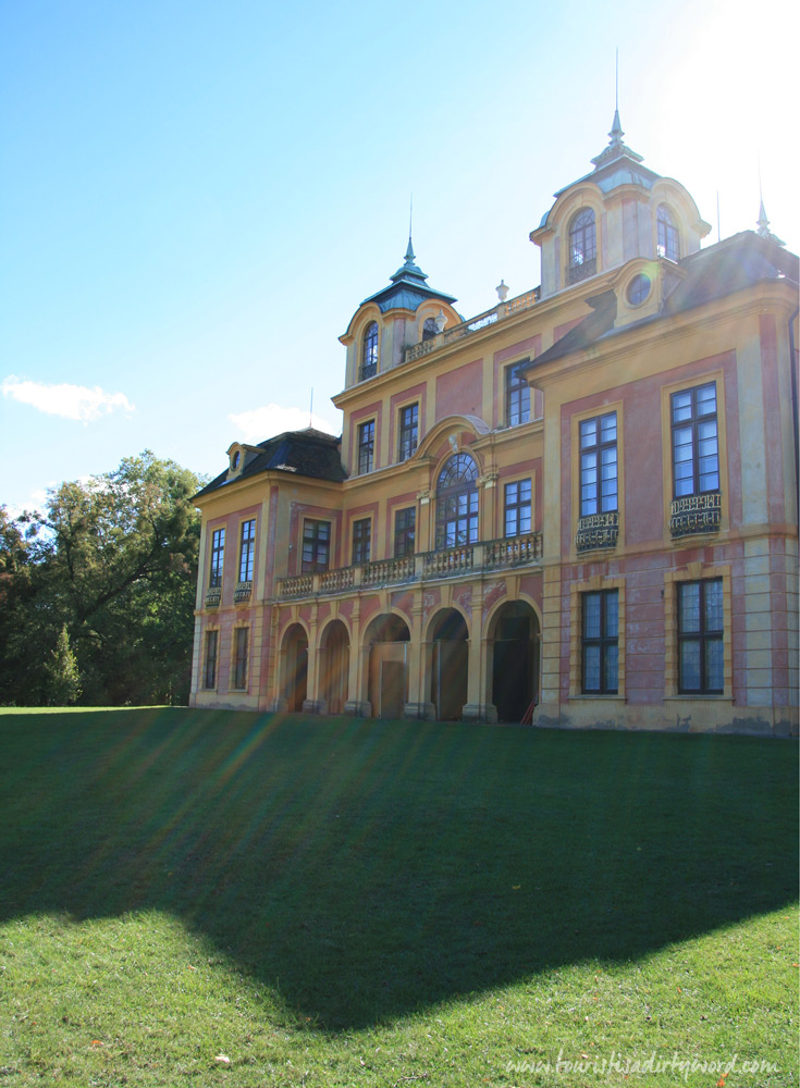 Northern facade of Schloss Favorite, backlit by morning sun | Ludwigsburg, Germany | Baroque Architecture
