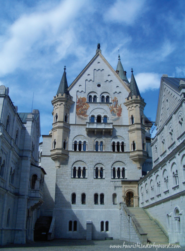 Neuschwanstein Castle Courtyard, Ladies Bower and Knights Building • Germany Travel Blog Tourist is a Dirty Word