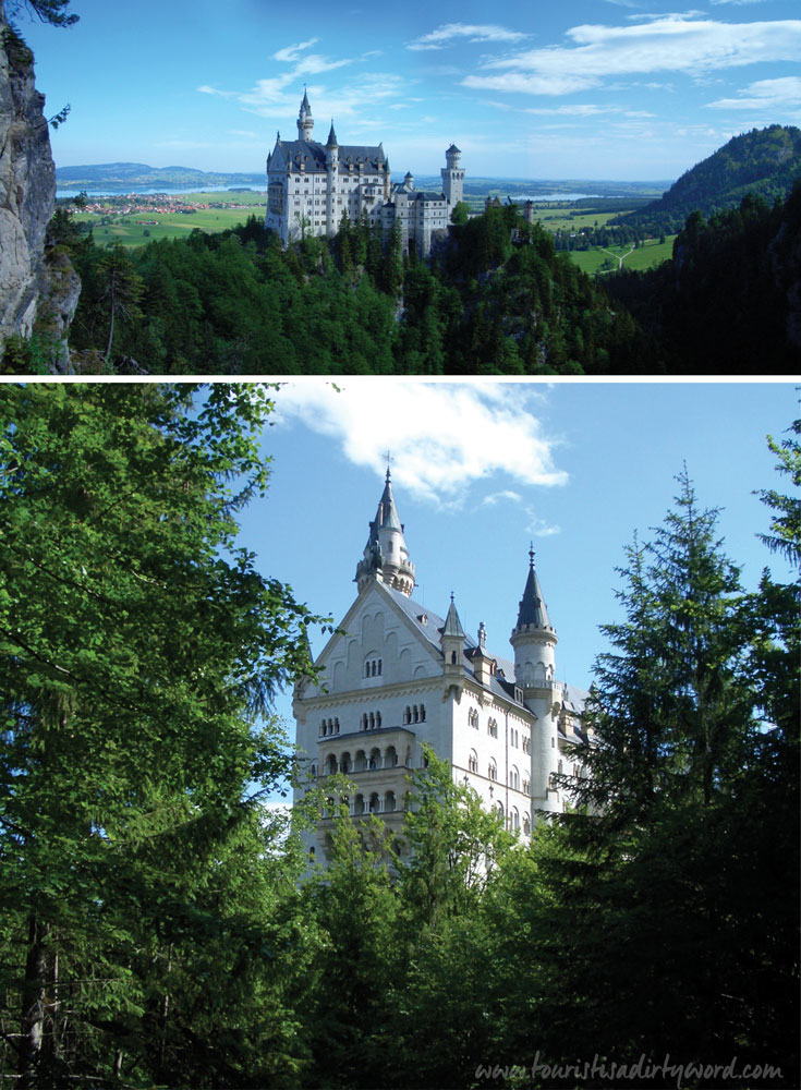 Neuschwanstein Castle Panorama and Through the Trees • Germany Travel Blog Tourist is a Dirty Word
