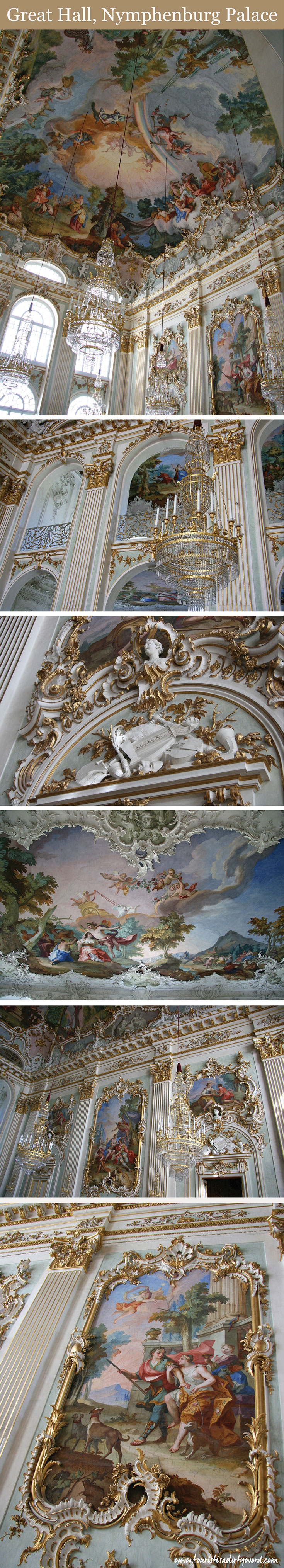 Great Hall, preserved rococo room, Nymphenburg Palace, Munich • Germany Travel Blog Tourist is a Dirty Word