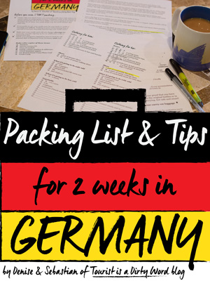 Free 4-page printable download, a packing list for two weeks in Germany • Tourist is a Dirty Word Blog