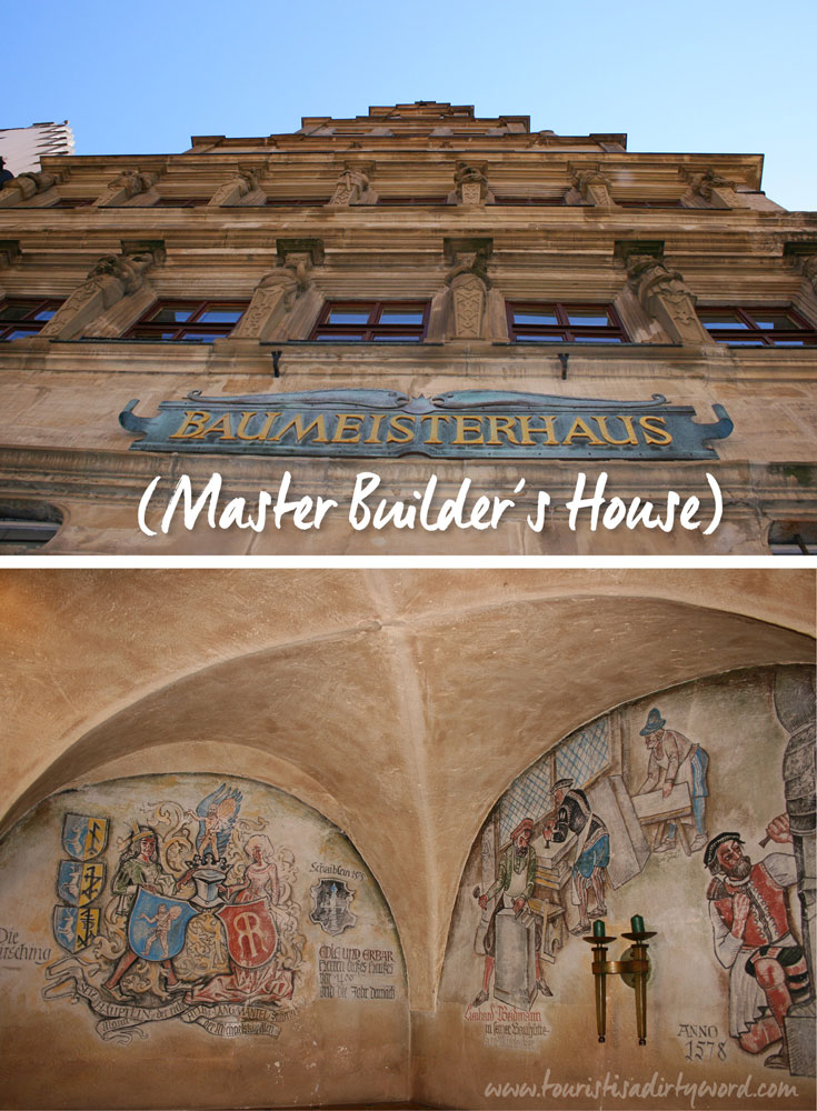 exterior of Baumeisterhaus, meaning Master Builder's House, in Rothenburg ob der Tauber, Germany