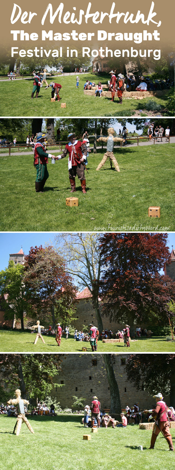 Along the historic town wall of Rothenburg, re-enactors demonstrate lawn games during the Master Draught Festival
