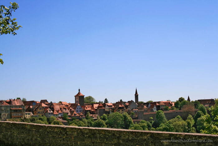 Beautiful view from Rothenburg's Town Wall of a town with so many red roofs