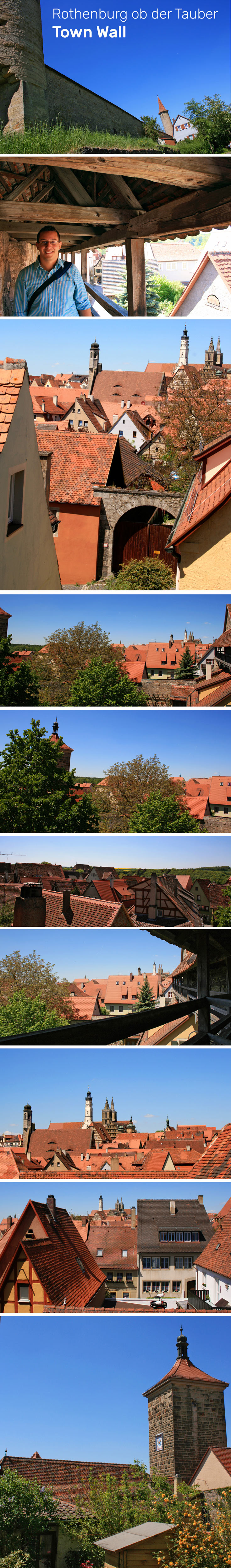 Various views you can enjoy from a walk along the historic town wall of Rothenburg ob der Tauber