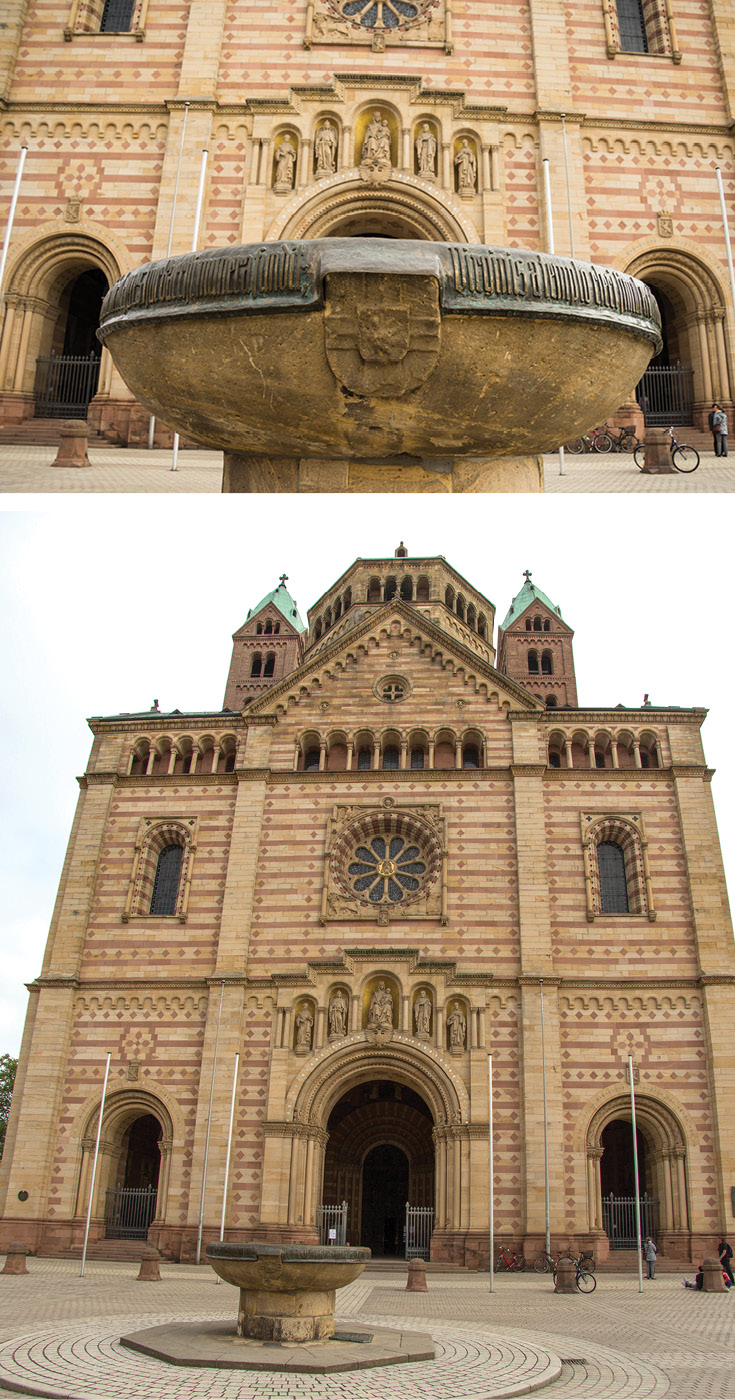Outside the western entrance of the Speyer Cathedral stands the Cathedral Bowl. Many, many years ago it was often used as a loophole for those hoping to escape prison sentences, as the bowl marks the separate bishop and city territories.