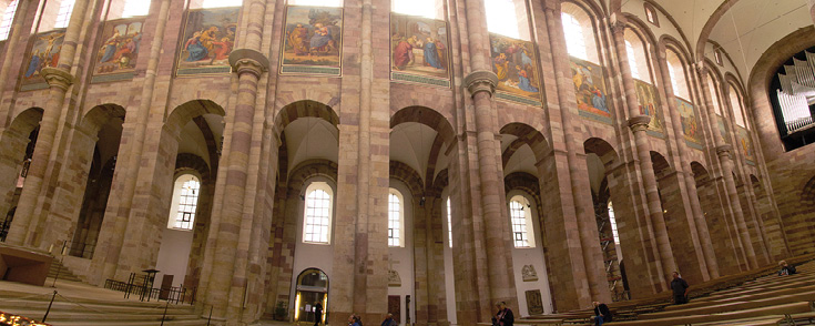 Also in honor of the cathedral's patron saint, the Blessed Mother Mary, along the walls of the nave is a 24-part series depicting Mary's story painted by Johann von Schraudolph in the mid 1800s.