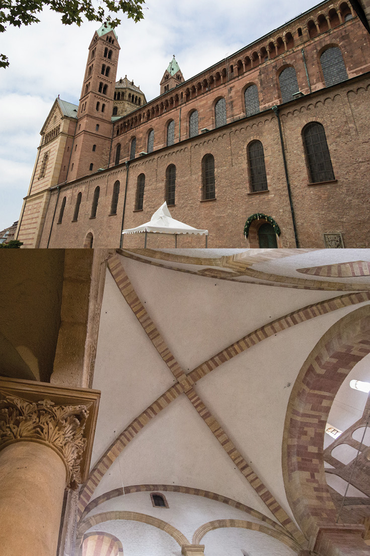 Speyer Cathedral is the largest example of Romanesque Architecture in the World and the first building constructed entirely from stone in Europe.