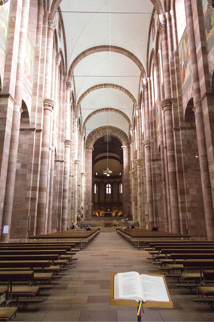 The view of the nave from the western portal in the Speyer Cathedral in Germany