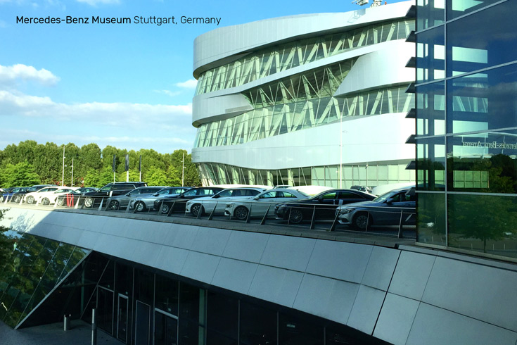 Innovative, award-winning architecture design of the Mercedes-Benz Museum in Stuttgart, Germany