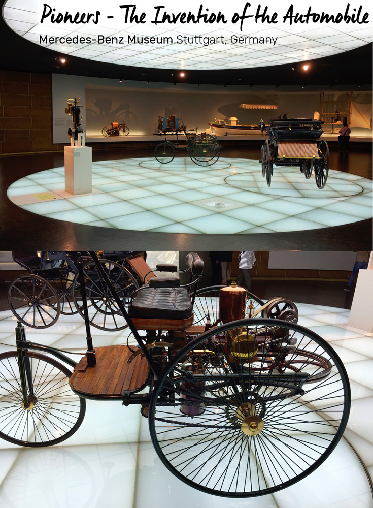 One room dedicated to the year 1886, when the Mercedes-Benz history begins, full of prototypes, at the Mercedes-Benz Museum in Stuttgart, Germany