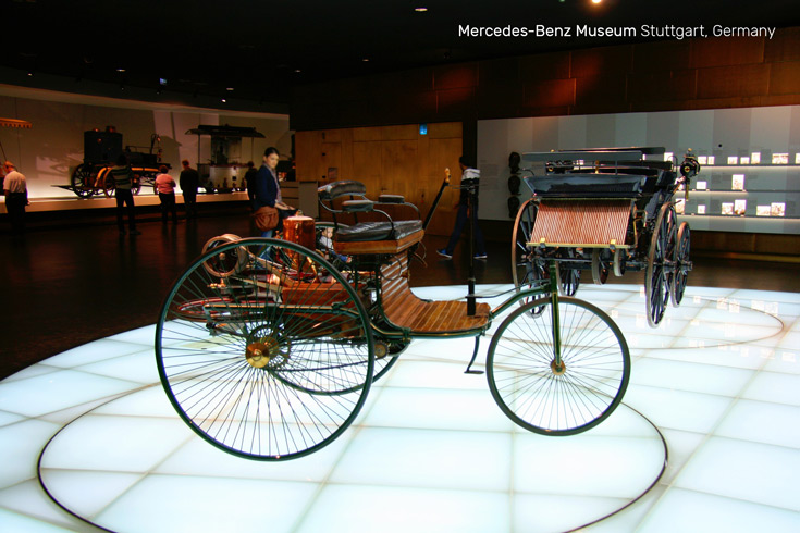 Benz Patent Motor Car made by Carl Benz, the first car in the world with a gasoline engine | Mercedes-Benz Museum in Stuttgart, Germany