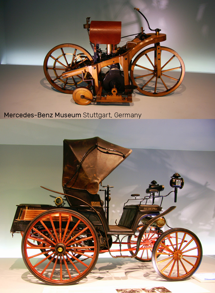 Benz also experimented with engine-powered bikes and carriages | Mercedes-Benz Museum in Stuttgart, Germany