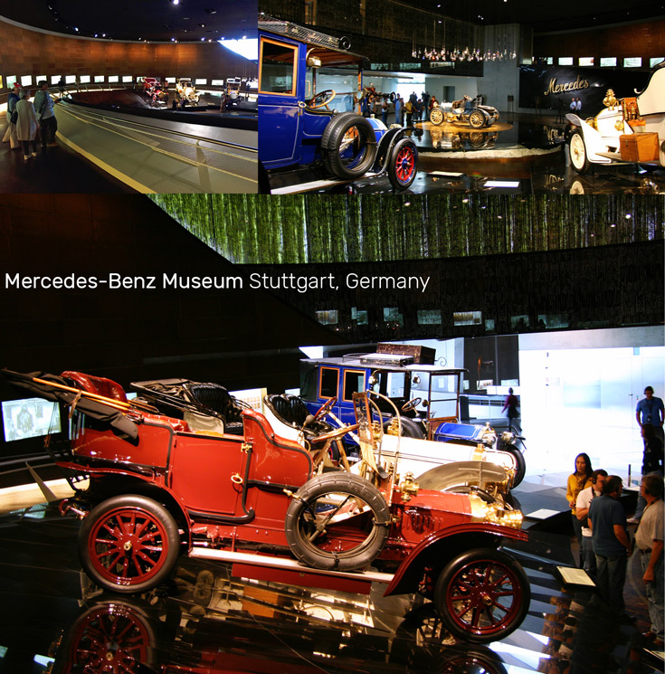 Showrooms in the Mercedes-Benz Museum in Stuttgart, Germany